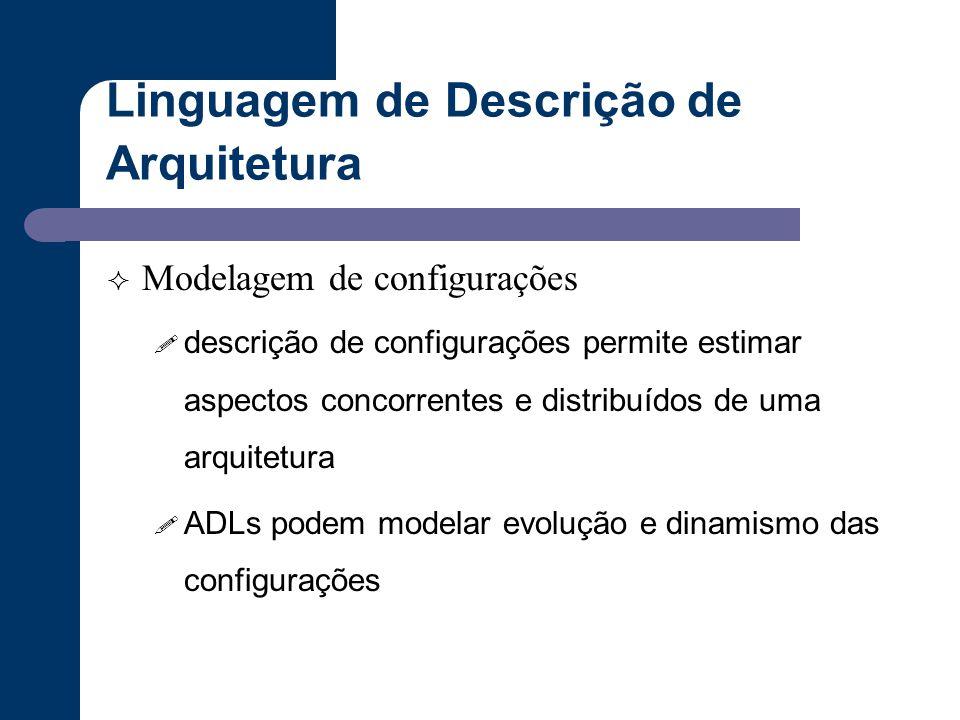 Linguagem de Descrição de Arquitetura  Modelagem de configurações ! descrição de configurações permite estimar aspectos concorrentes e distribuídos d