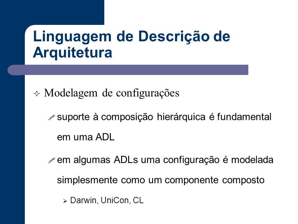 Linguagem de Descrição de Arquitetura  Modelagem de configurações ! suporte à composição hierárquica é fundamental em uma ADL ! em algumas ADLs uma c
