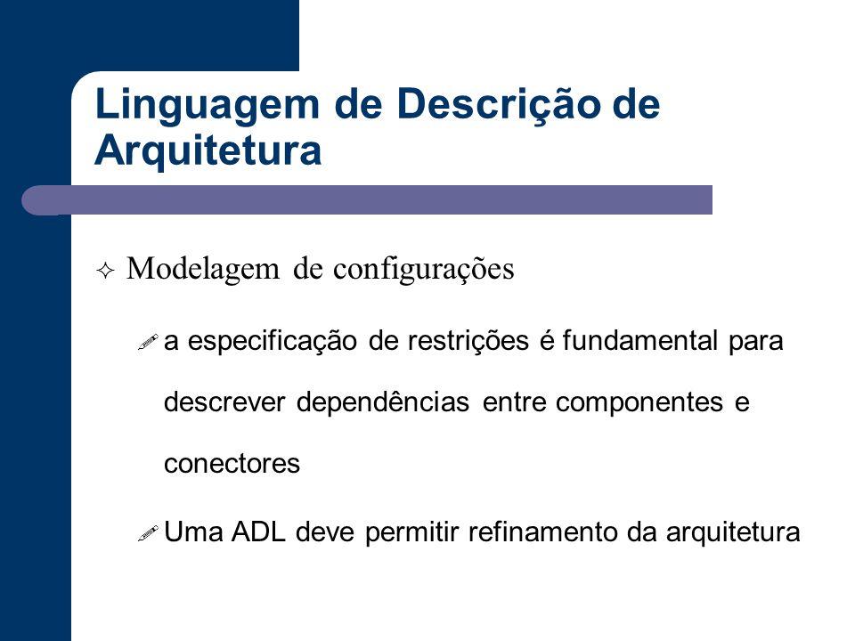 Linguagem de Descrição de Arquitetura  Modelagem de configurações ! a especificação de restrições é fundamental para descrever dependências entre com