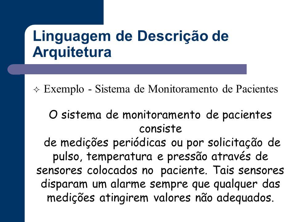 Linguagem de Descrição de Arquitetura  Exemplo - Sistema de Monitoramento de Pacientes O sistema de monitoramento de pacientes consiste de medições p
