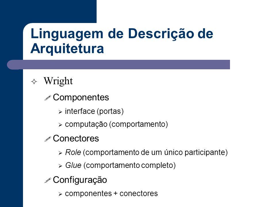 Linguagem de Descrição de Arquitetura  Wright ! Componentes  interface (portas)  computação (comportamento) ! Conectores  Role (comportamento de u