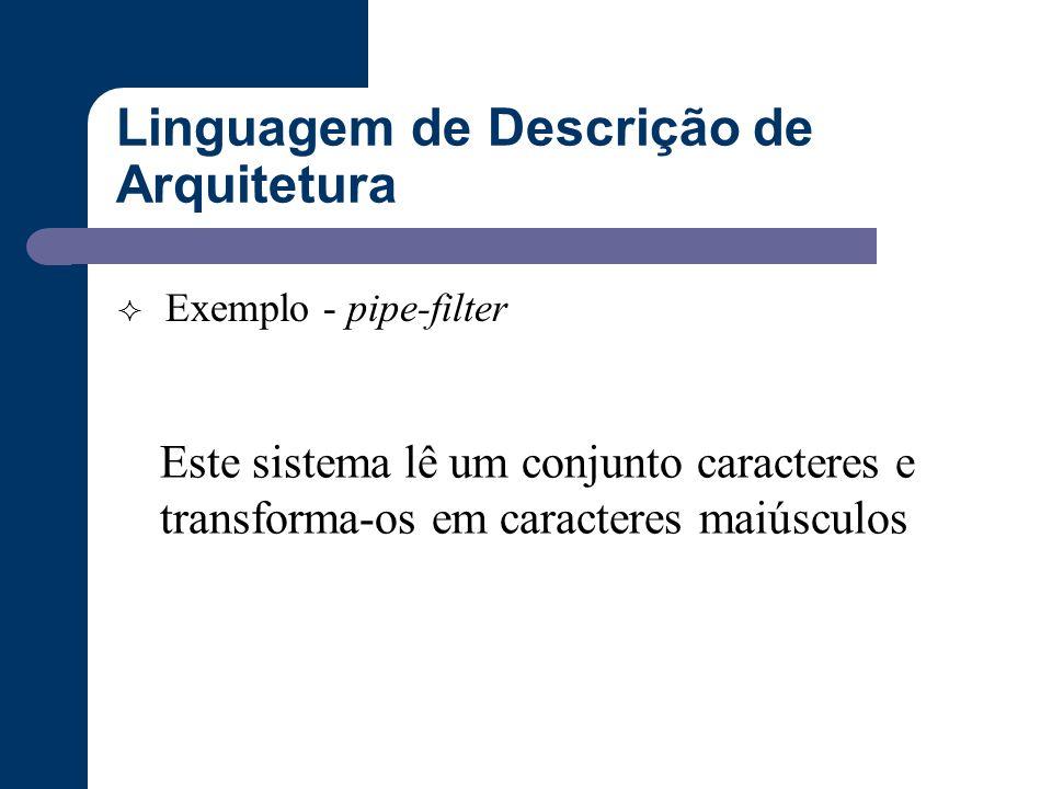 Linguagem de Descrição de Arquitetura  Exemplo - pipe-filter Este sistema lê um conjunto caracteres e transforma-os em caracteres maiúsculos