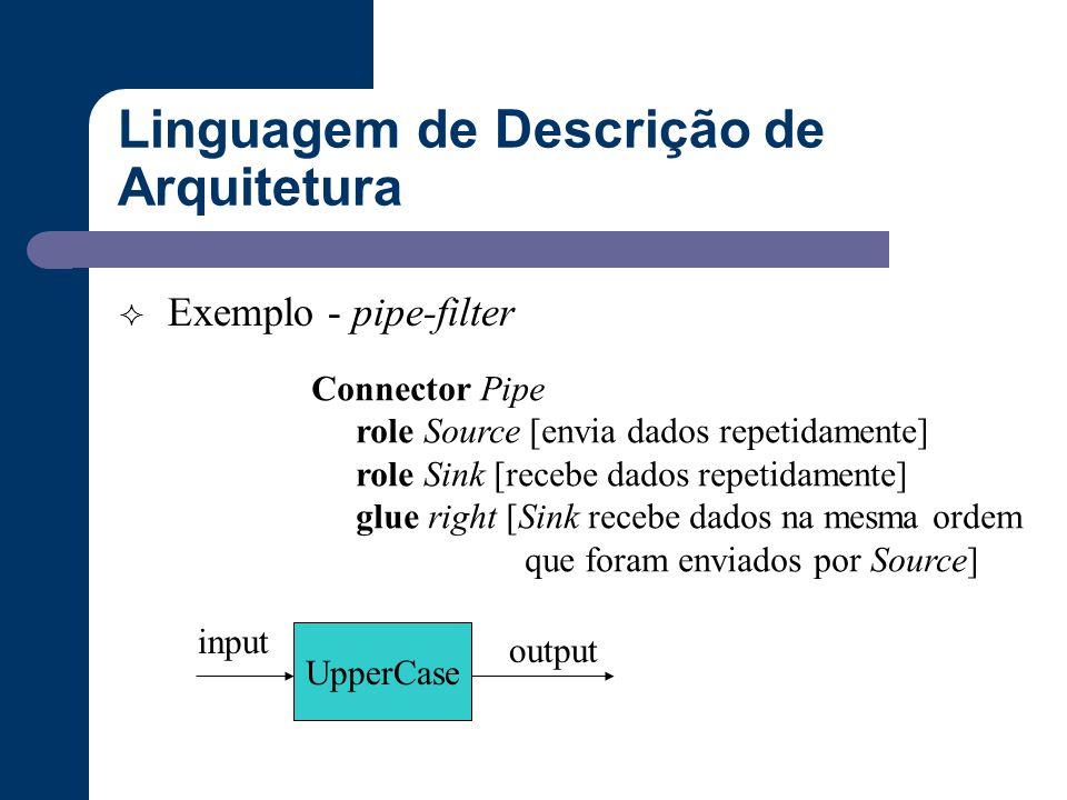 Linguagem de Descrição de Arquitetura  Exemplo - pipe-filter Connector Pipe role Source [envia dados repetidamente] role Sink [recebe dados repetidam