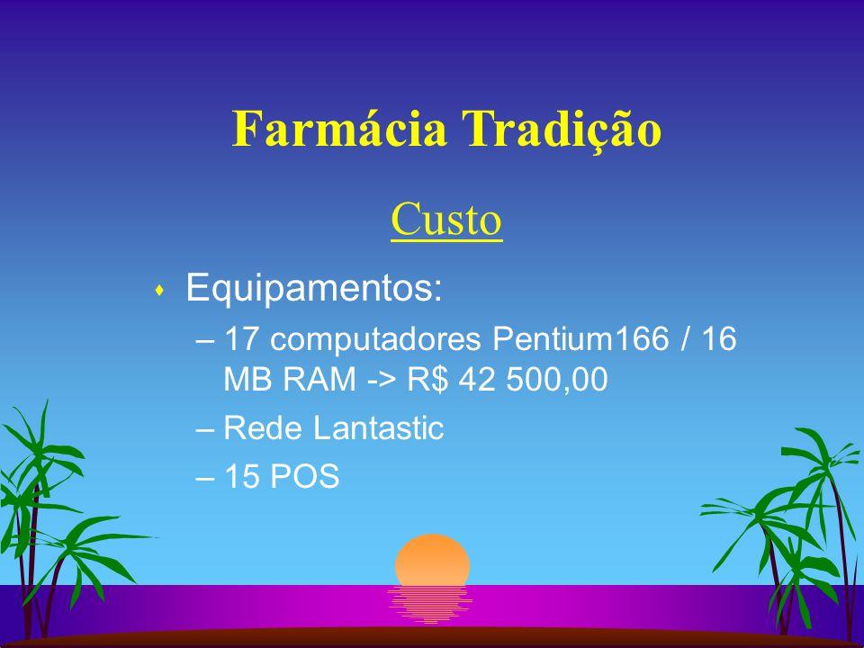 Farmácia Tradição s Equipamentos: –17 computadores Pentium166 / 16 MB RAM -> R$ 42 500,00 –Rede Lantastic –15 POS Custo