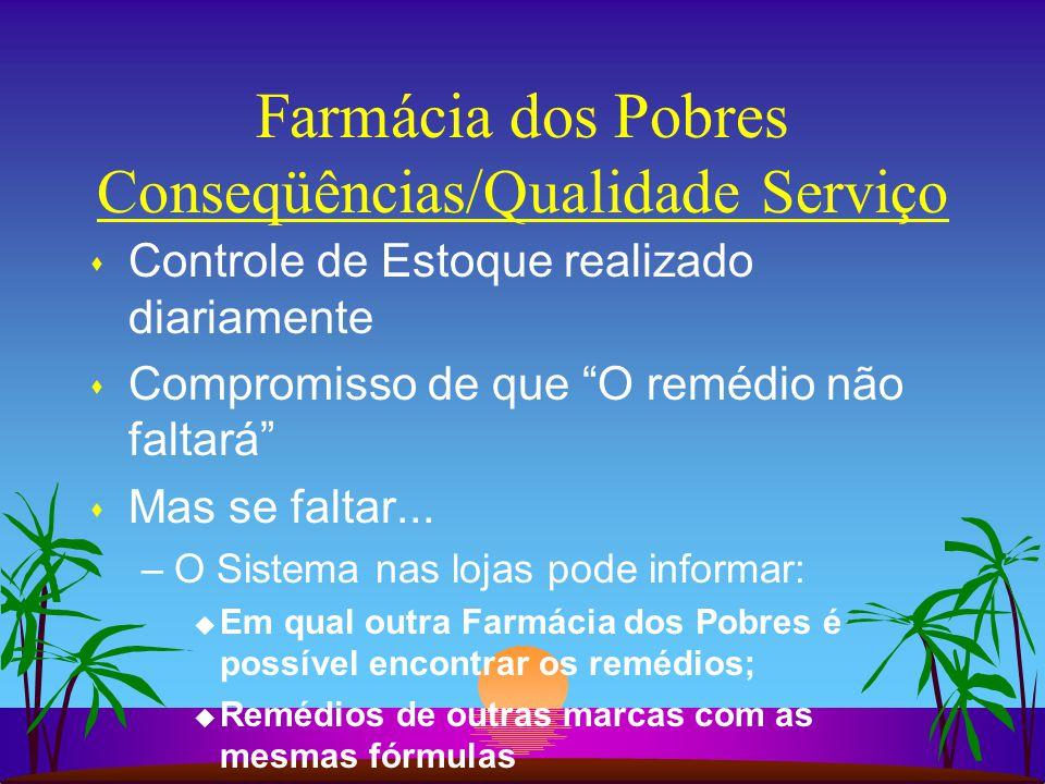 Farmácia dos Pobres Conseqüências/Qualidade Serviço s Controle de Estoque realizado diariamente s Compromisso de que O remédio não faltará s Mas se faltar...