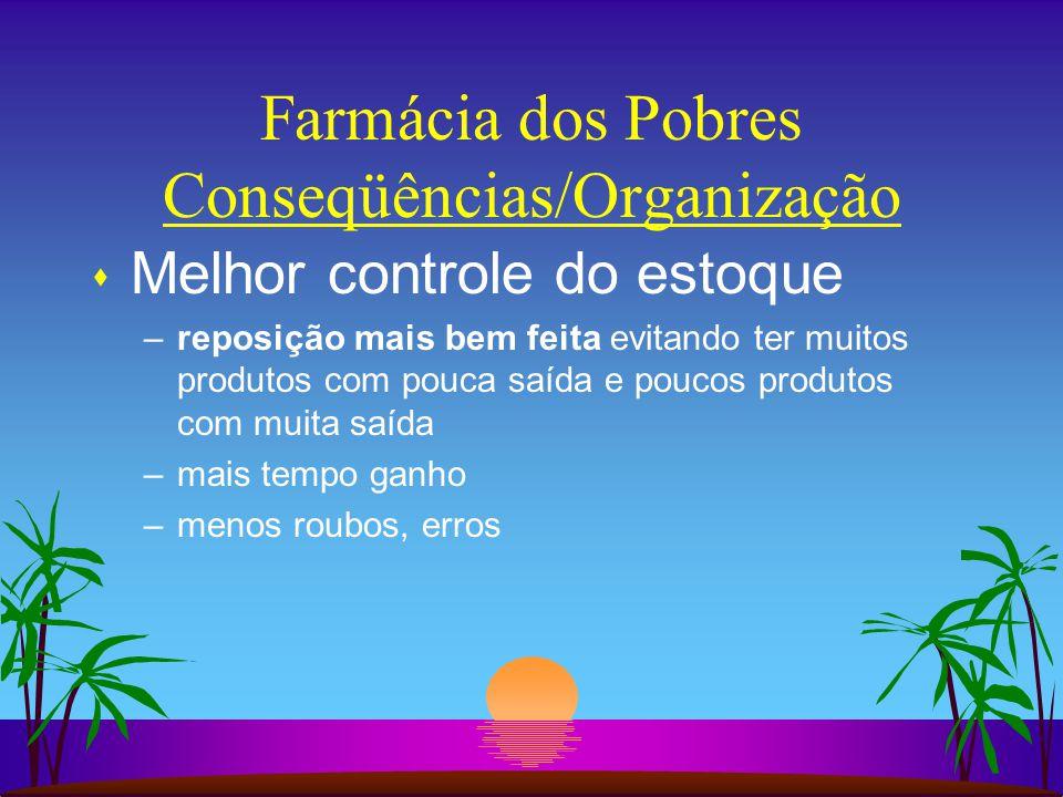 Farmácia dos Pobres Conseqüências/Organização s Melhor controle do estoque –reposição mais bem feita evitando ter muitos produtos com pouca saída e po