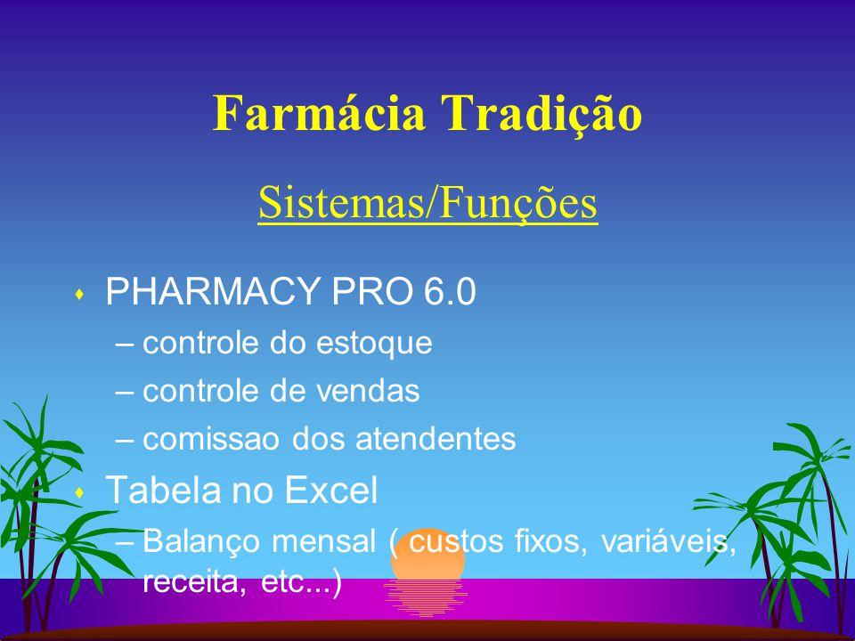 Farmácia Tradição s PHARMACY PRO 6.0 –controle do estoque –controle de vendas –comissao dos atendentes s Tabela no Excel –Balanço mensal ( custos fixos, variáveis, receita, etc...) Sistemas/Funções