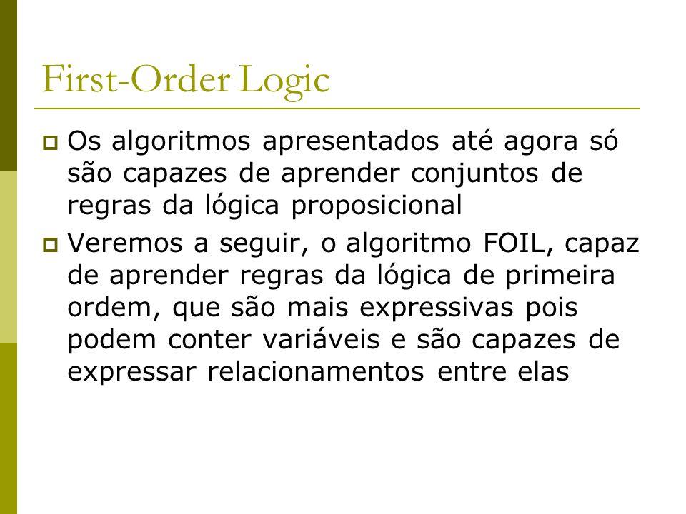 First-Order Logic  Os algoritmos apresentados até agora só são capazes de aprender conjuntos de regras da lógica proposicional  Veremos a seguir, o