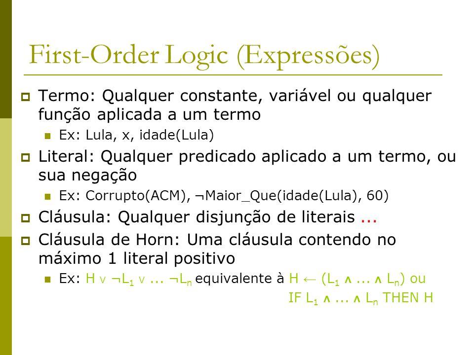 First-Order Logic (Expressões)  Termo: Qualquer constante, variável ou qualquer função aplicada a um termo Ex: Lula, x, idade(Lula)  Literal: Qualqu