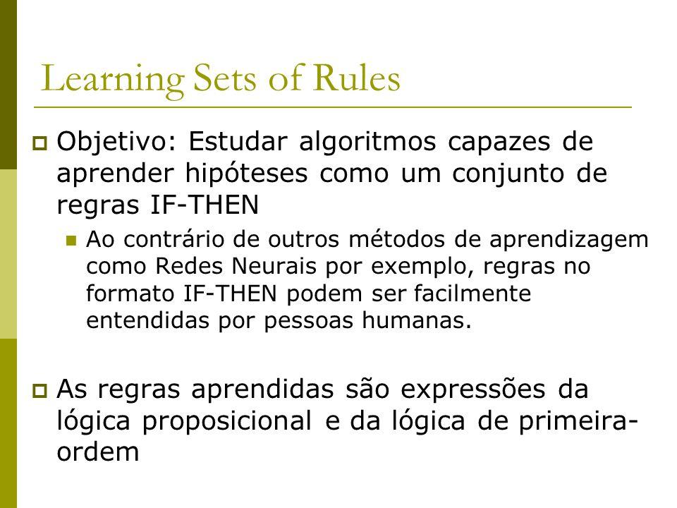 Learning Sets of Rules  Objetivo: Estudar algoritmos capazes de aprender hipóteses como um conjunto de regras IF-THEN Ao contrário de outros métodos