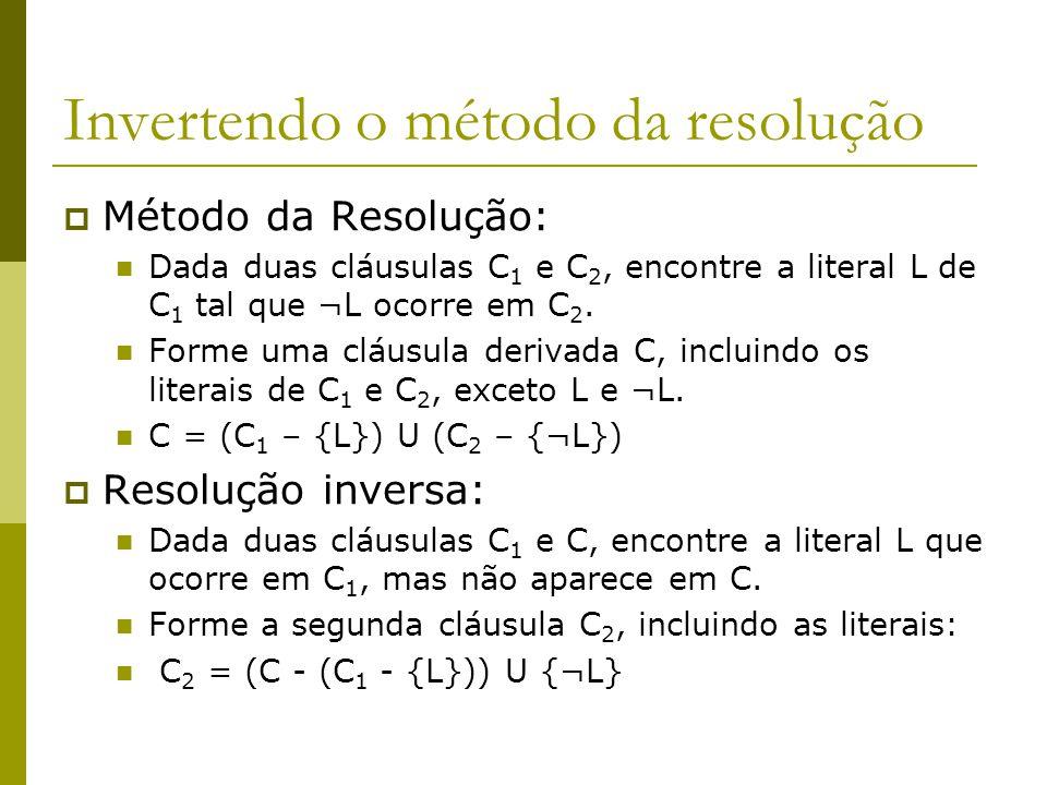 Invertendo o método da resolução  Método da Resolução: Dada duas cláusulas C 1 e C 2, encontre a literal L de C 1 tal que ¬L ocorre em C 2. Forme uma
