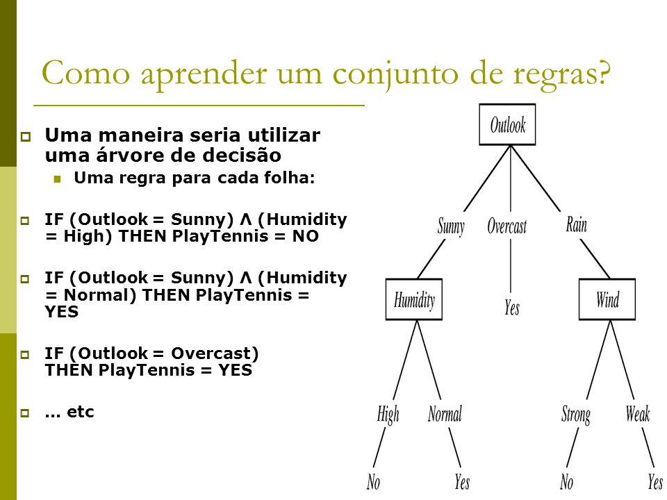 Como aprender um conjunto de regras?  Uma maneira seria utilizar uma árvore de decisão Uma regra para cada folha:  IF (Outlook = Sunny) Λ (Humidity