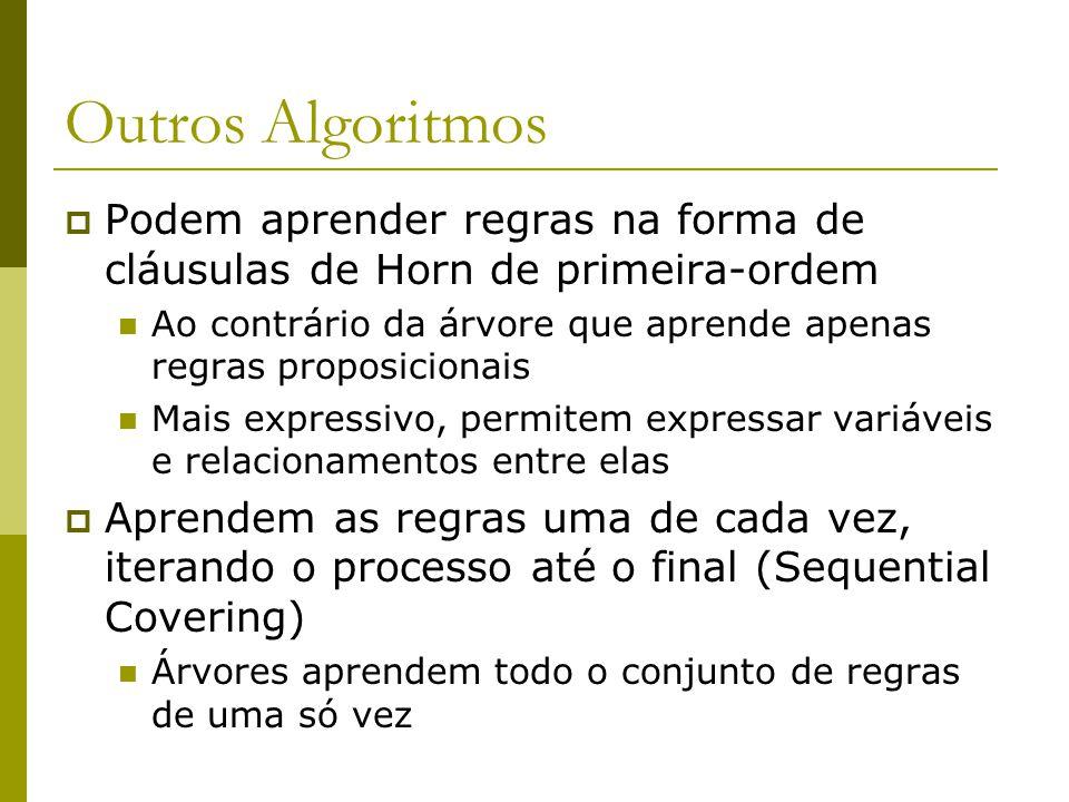 Outros Algoritmos  Podem aprender regras na forma de cláusulas de Horn de primeira-ordem Ao contrário da árvore que aprende apenas regras proposicion