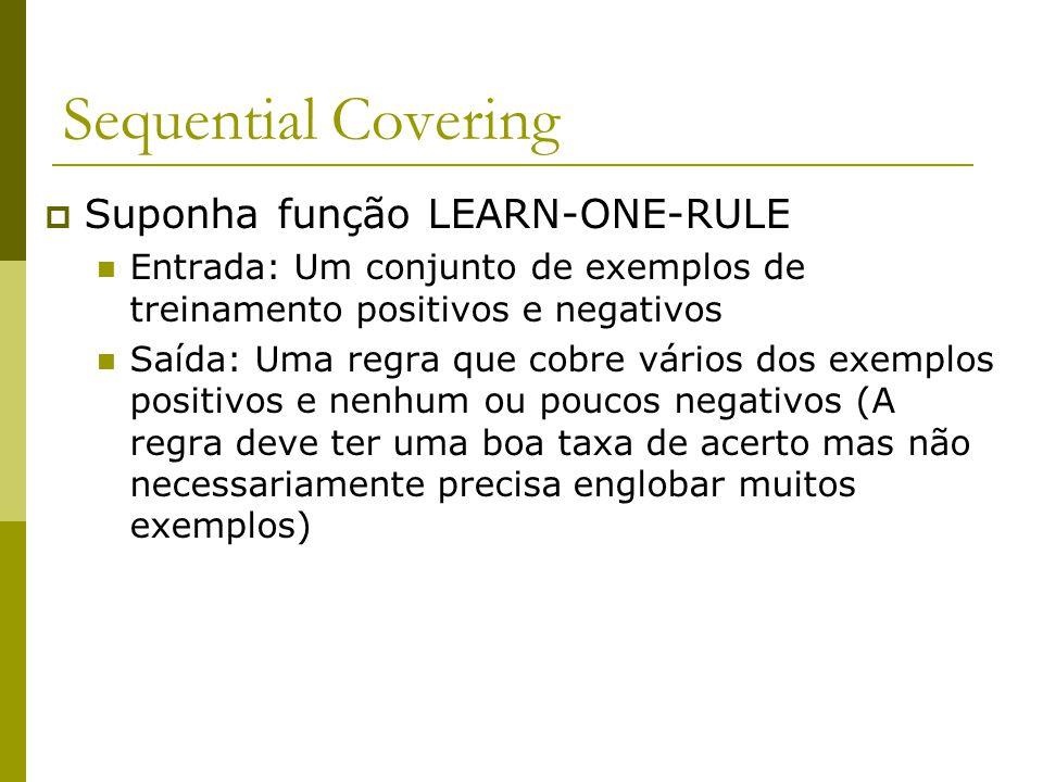 Sequential Covering  Suponha função LEARN-ONE-RULE Entrada: Um conjunto de exemplos de treinamento positivos e negativos Saída: Uma regra que cobre v