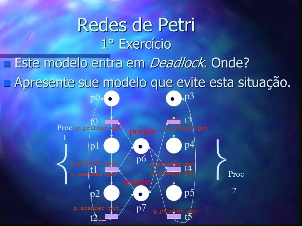 Redes de Petri 1° Exercício n Este modelo entra em Deadlock. Onde? n Apresente sue modelo que evite esta situação. p0 t0 p1 t1 p2 t2 p3 t3 p4 t4 p5 t5