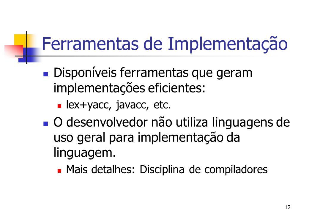 11 Sintaxe Concreta x Sintaxe Abstrata Sintaxe concreta: Descreve a estrutura da linguagem com todos os detalhes.