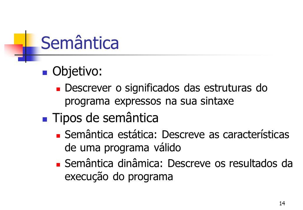 13 Introdução características principais de uma lp: sintaxe semântica pragmática