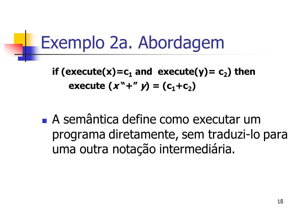 """17 Exemplo da 1a. Abordagem Semântica de [[ Exp1 """"+"""" Exp2 ]] = Semântica de Exp1 Semântica de Exp2 Sum A semântica traduz o programa em operadores de"""
