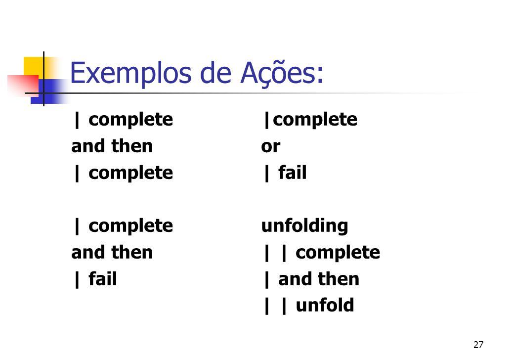 26 Principais Operadores (cont.) unfolding a -- executa a ação a. unfold -- Desvia o fluxo da execução para a última ação unfolding executada.