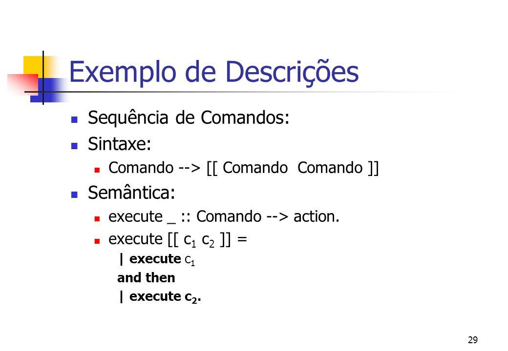 28 Exemplo de Descrições Comandos vazio Sintaxe: Comando --> [[ ; ]] Semântica: execute _ :: Comando --> action.