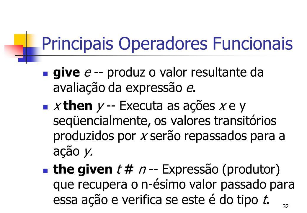 31 Definição A faceta funcional define ações que manipulam valores temporários (transitórios) produzidos pela execução de um programa. Utilização prin