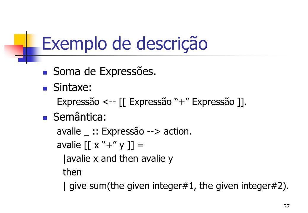 36 Exemplo de descrição Constantes Numéricas. Sintaxe: Expressão <-- [[ Integer ]]. Semântica: avalie _ :: Expressão --> action. avalie [[ x : Integer