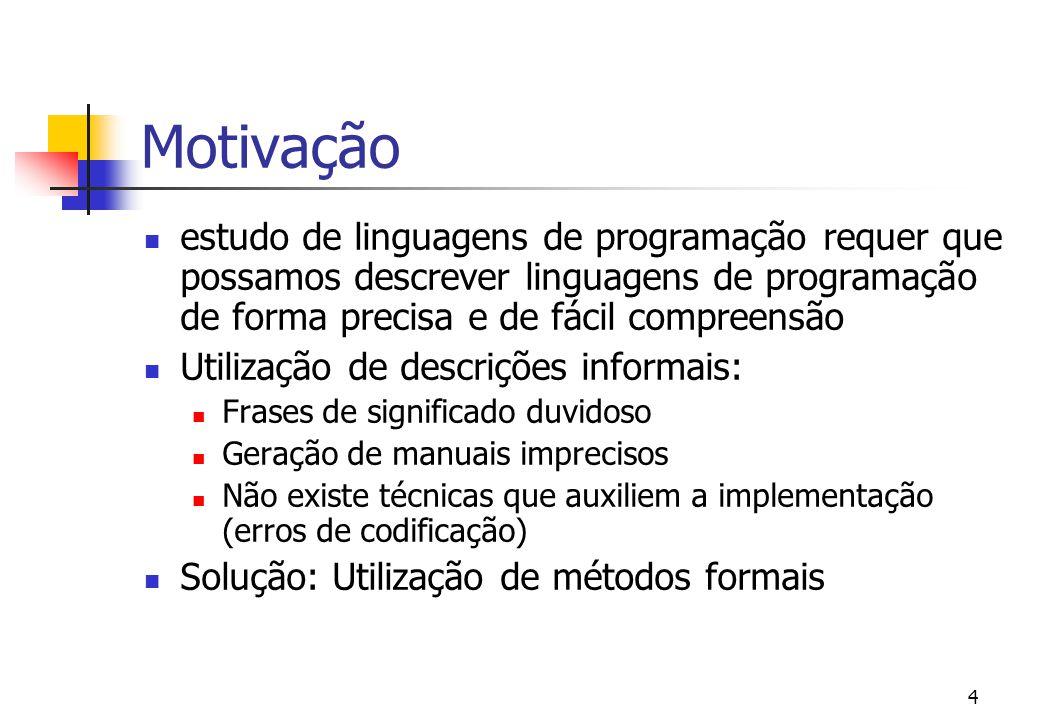program simples = var x : int := 3 in x := x + 5 end. = Motivação: Qual o significado do seguinte programa? ?