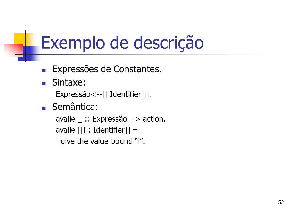 """51 Exemplo de descrição Declaração de Constantes. Sintaxe: Expressão <--[[ """"let"""" Identifier """"="""" Expressão """"in"""" Expressão ]]. Semântica: avalie _ :: Ex"""