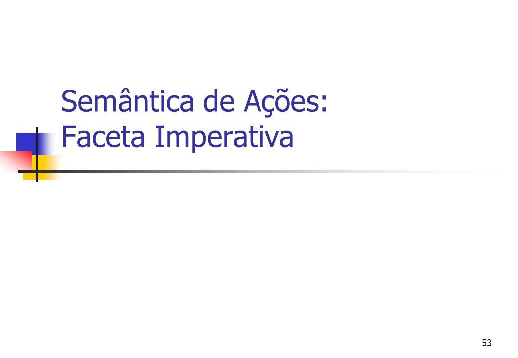 52 Exemplo de descrição Expressões de Constantes. Sintaxe: Expressão<--[[ Identifier ]]. Semântica: avalie _ :: Expressão --> action. avalie [[i : Ide