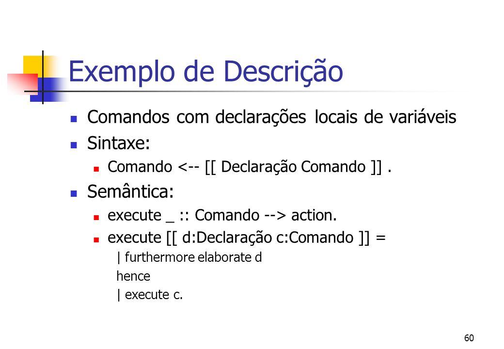"""59 Exemplo de Descrição Comando de Atribuição Sintaxe: Comando <-- [[ Identifier """"="""" Expressão]]. Semântica: execute _ :: comando --> action. execute"""
