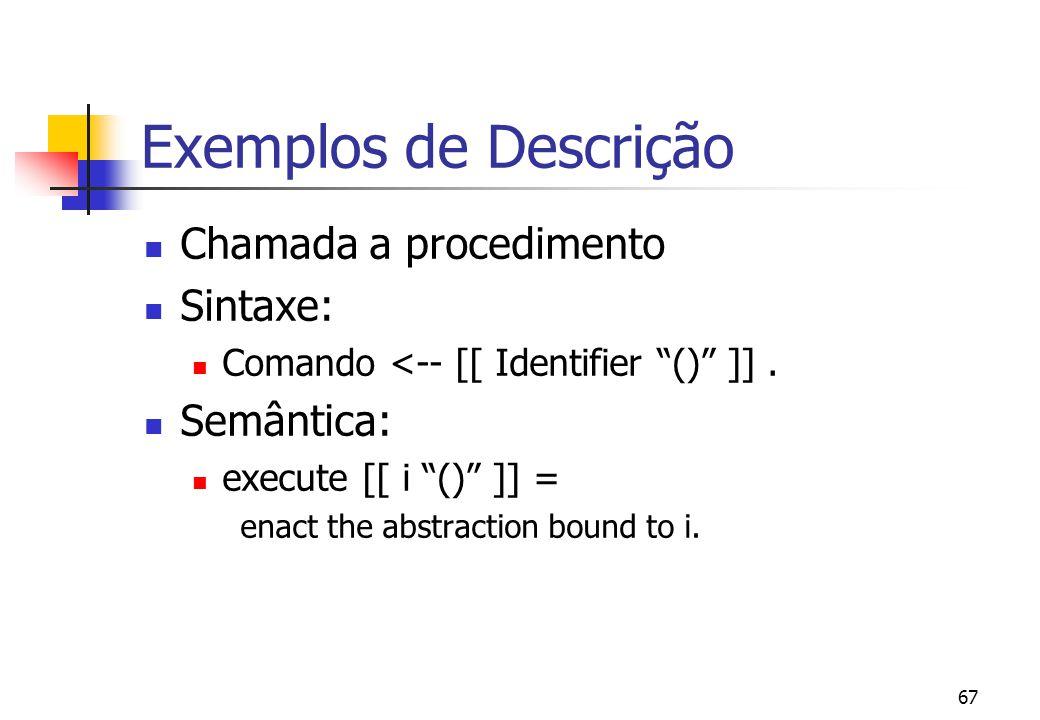 """66 Exemplos de Descrição Declaração de Procedimentos Sintaxe: Declaração <-- [[ """"proc"""" Identifier """"is"""" Commando """"end"""" ]]. Semântica: elabore [[ """"proc"""""""