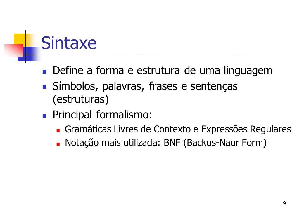 8 Introdução características principais de uma lp: sintaxe semântica pragmática