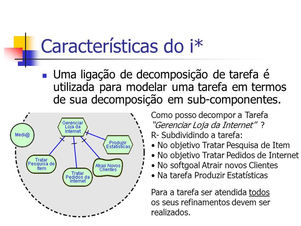 Características do i* Uma ligação de decomposição de tarefa é utilizada para modelar uma tarefa em termos de sua decomposição em sub-componentes. Como