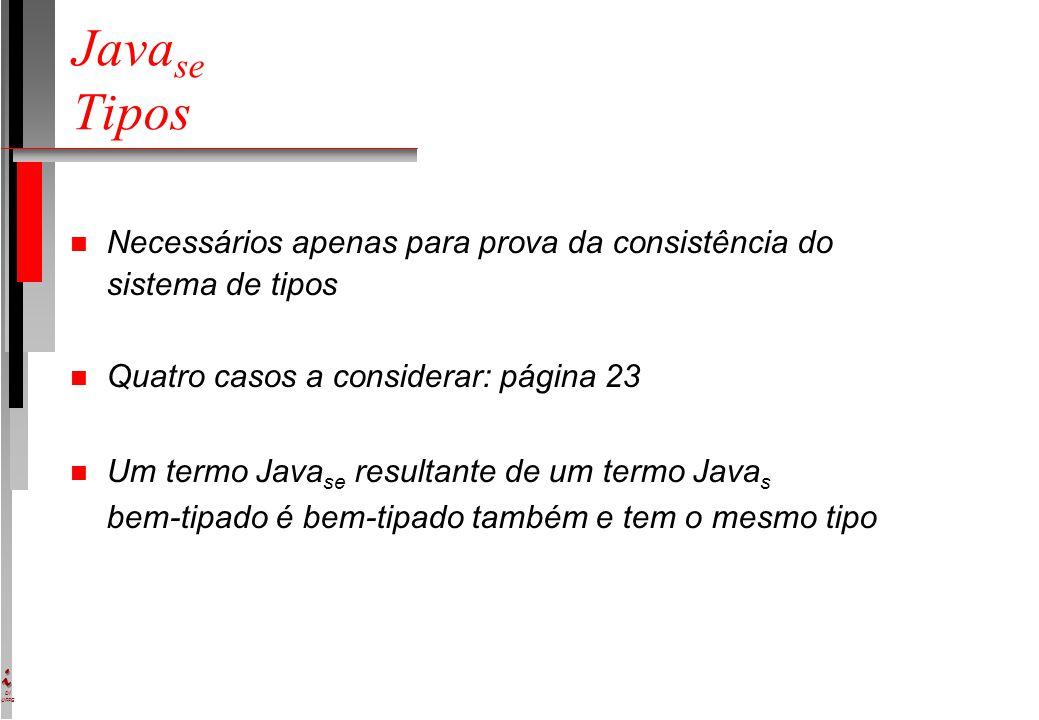 DI UFPE Java se Tipos n Necessários apenas para prova da consistência do sistema de tipos n Quatro casos a considerar: página 23 n Um termo Java se resultante de um termo Java s bem-tipado é bem-tipado também e tem o mesmo tipo