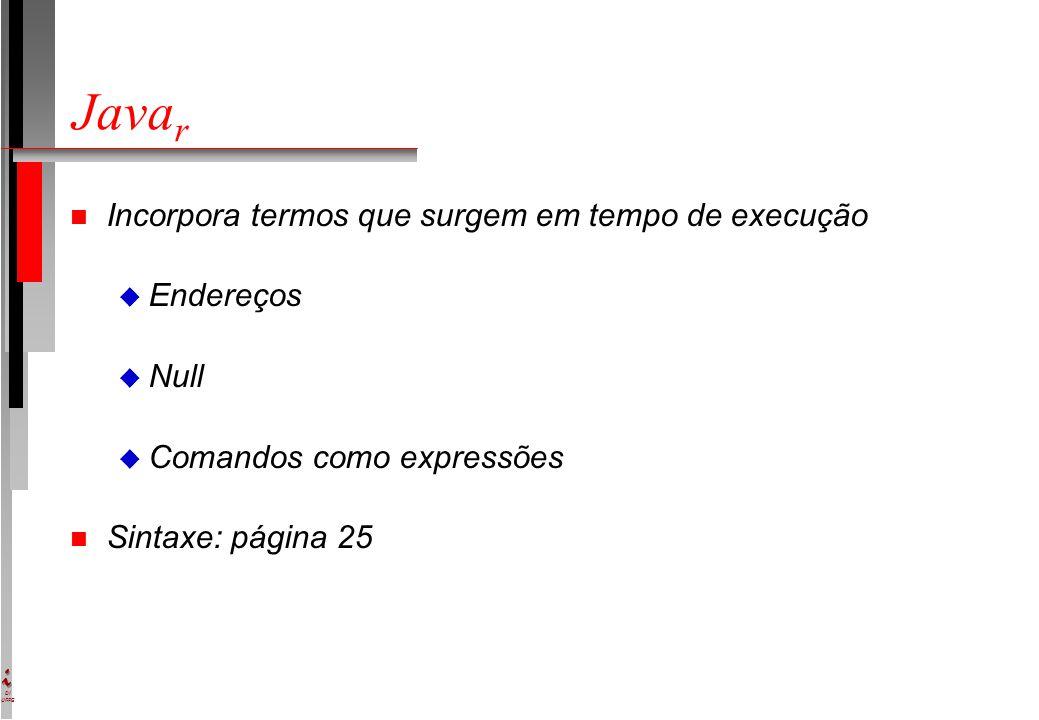 DI UFPE Java r n Incorpora termos que surgem em tempo de execução u Endereços u Null u Comandos como expressões n Sintaxe: página 25