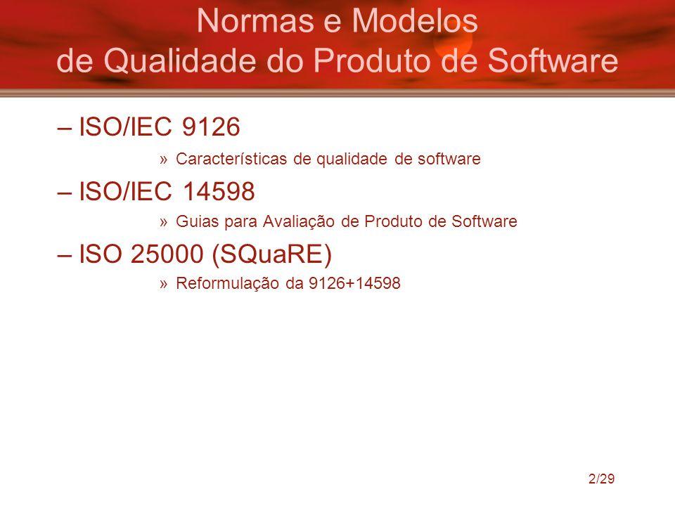 2/29 Normas e Modelos de Qualidade do Produto de Software –ISO/IEC 9126 »Características de qualidade de software –ISO/IEC 14598 »Guias para Avaliação