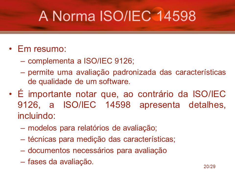 20/29 A Norma ISO/IEC 14598 Em resumo: –complementa a ISO/IEC 9126; –permite uma avaliação padronizada das características de qualidade de um software