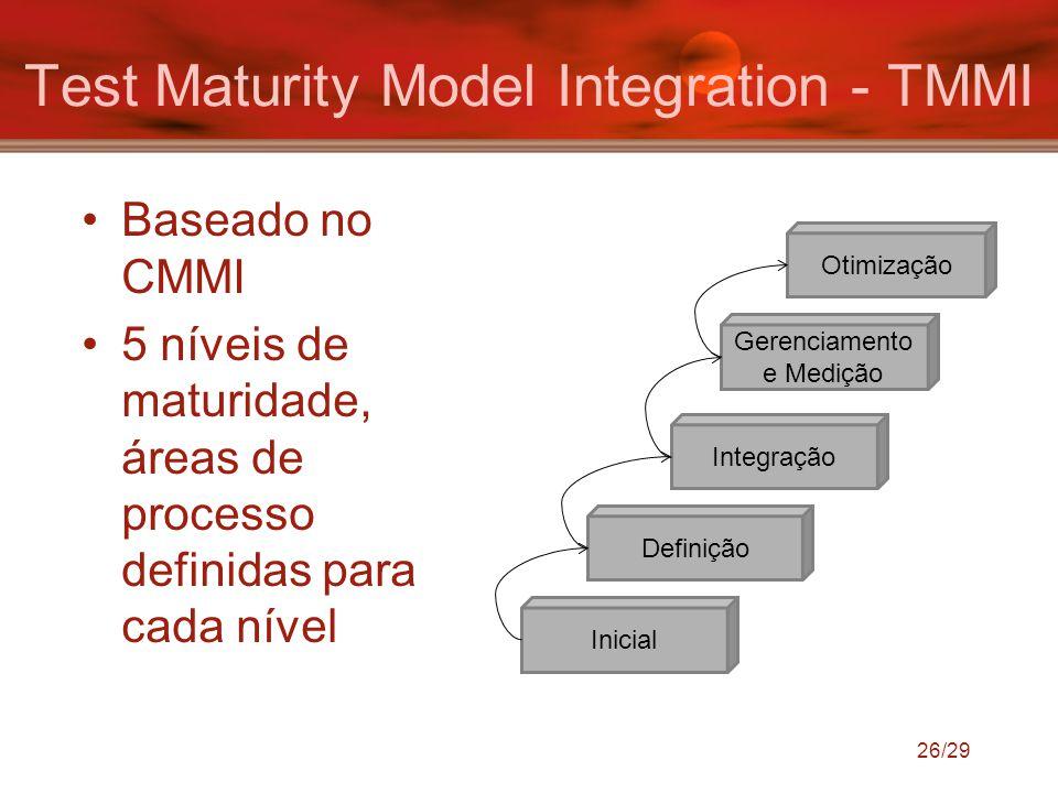Baseado no CMMI 5 níveis de maturidade, áreas de processo definidas para cada nível Inicial Definição Integração Gerenciamento e Medição Otimização 26