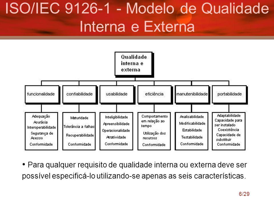 6/29 ISO/IEC 9126-1 - Modelo de Qualidade Interna e Externa Para qualquer requisito de qualidade interna ou externa deve ser possível especificá-lo ut