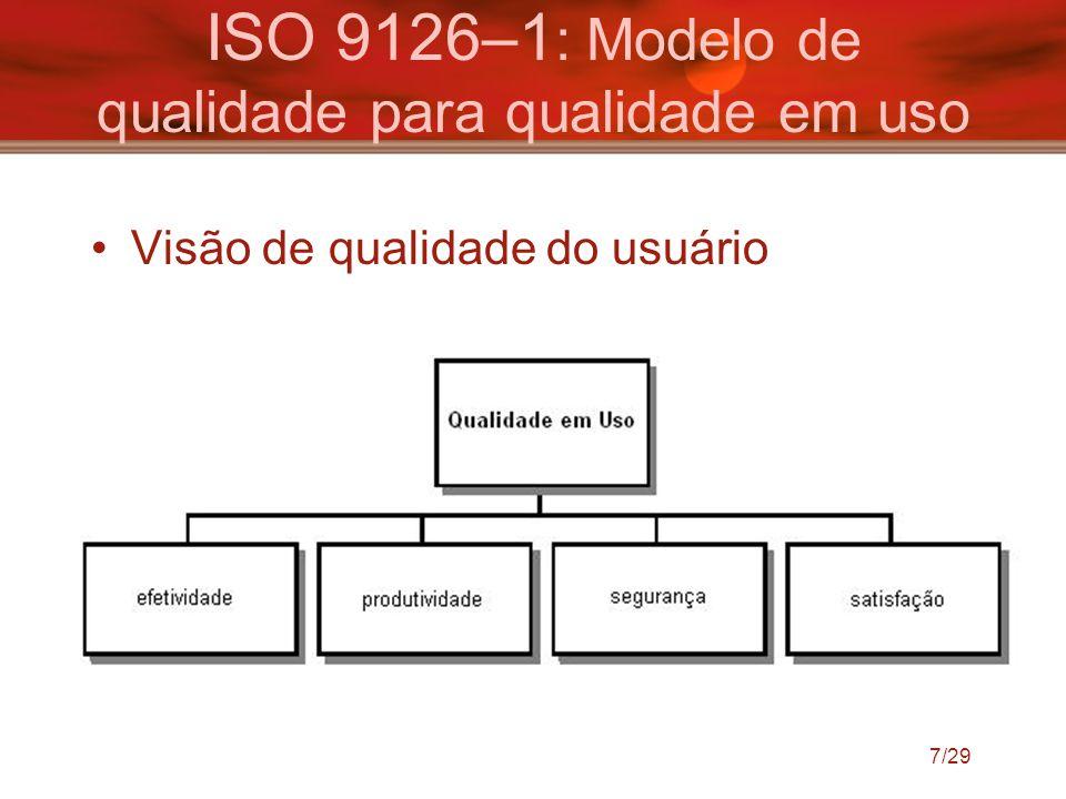 7/29 ISO 9126–1 : Modelo de qualidade para qualidade em uso Visão de qualidade do usuário
