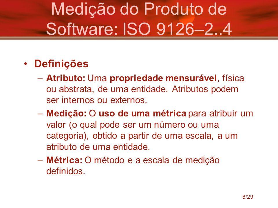 8/29 Medição do Produto de Software: ISO 9126–2..4 Definições –Atributo: Uma propriedade mensurável, física ou abstrata, de uma entidade. Atributos po