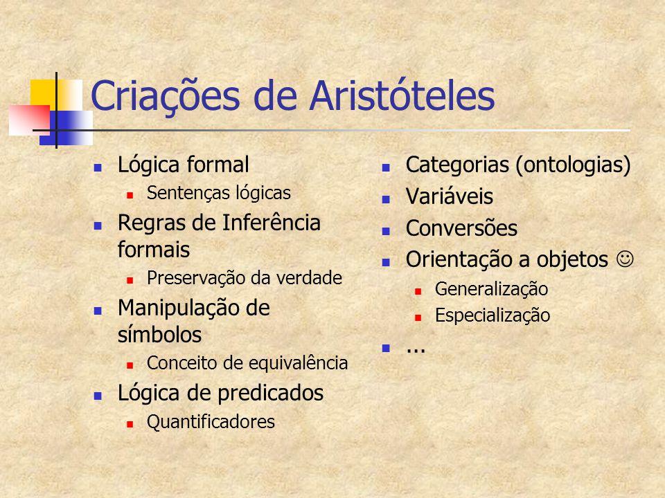 Criações de Aristóteles Lógica formal Sentenças lógicas Regras de Inferência formais Preservação da verdade Manipulação de símbolos Conceito de equiva