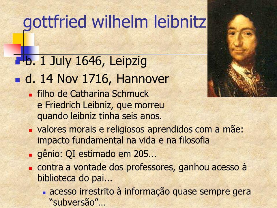 gottfried wilhelm leibnitz b. 1 July 1646, Leipzig d. 14 Nov 1716, Hannover filho de Catharina Schmuck e Friedrich Leibniz, que morreu quando leibniz