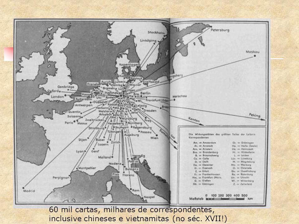 leibniz era uma rede! 60 mil cartas, milhares de correspondentes, inclusive chineses e vietnamitas (no séc. XVII!)
