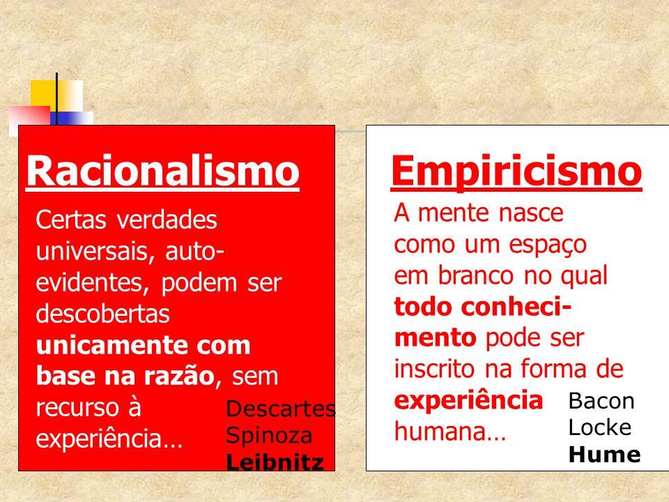 EmpiricismoRacionalismo A mente nasce como um espaço em branco no qual todo conheci- mento pode ser inscrito na forma de experiência humana… Certas ve