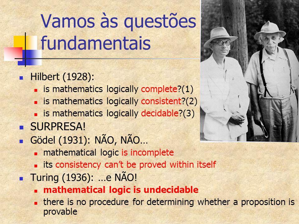Vamos às questões fundamentais Hilbert (1928): is mathematics logically complete?(1) is mathematics logically consistent?(2) is mathematics logically
