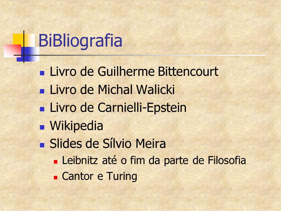 BiBliografia Livro de Guilherme Bittencourt Livro de Michal Walicki Livro de Carnielli-Epstein Wikipedia Slides de Sílvio Meira Leibnitz até o fim da