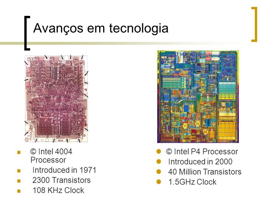 Avanços em tecnologia © Intel 4004 Processor Introduced in 1971 2300 Transistors 108 KHz Clock © Intel P4 Processor Introduced in 2000 40 Million Tran