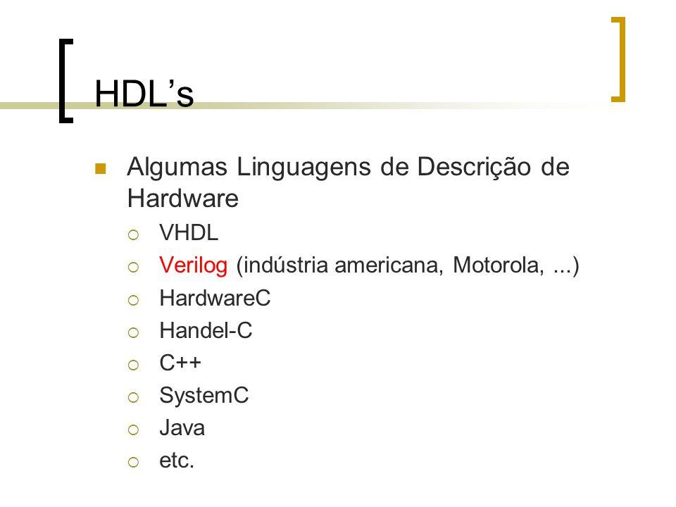 HDL's Algumas Linguagens de Descrição de Hardware  VHDL  Verilog (indústria americana, Motorola,...)  HardwareC  Handel-C  C++  SystemC  Java 