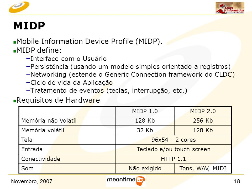 Novembro, 200718 MIDP n Mobile Information Device Profile (MIDP). n MIDP define: – Interface com o Usuário – Persistência (usando um modelo simples or
